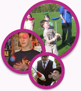 circus workshops for fetes and fun days.